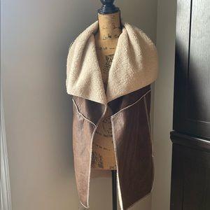 Faux Leather & Shearling Boho Vest
